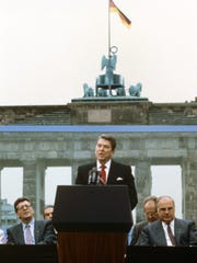 President Ronald Reagan speaks at the Berlin Wall on