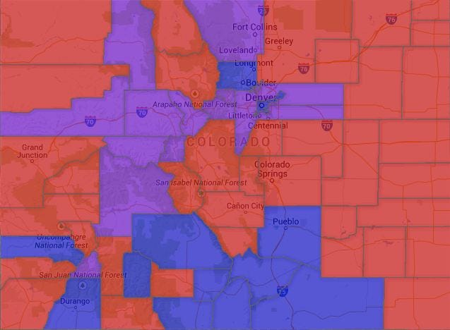 Map Colorado Voter Party Affiliation by County