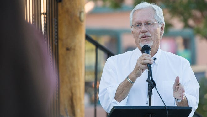 Billy Garrett, current county commissioner for district 1 for Doña Ana County, announcing his run for lieutenant governor for the state of New Mexico. Tuseday, October 24, 2017 at the Plaza de Mesilla.