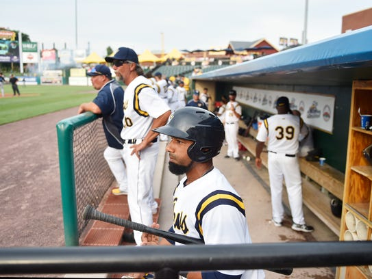 York Revolution infielder Alexi Casilla prepares to leave the dugout to enter the on-deck circle in a game against the Sugar Land Skeeters Friday, July 21, 2017