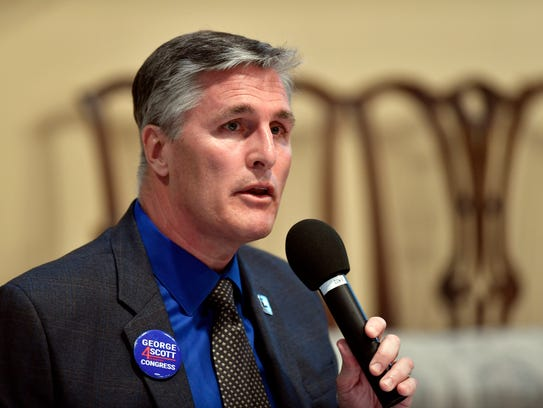 George Scott speaks at a candidate forum on April 18, 2018, in York.