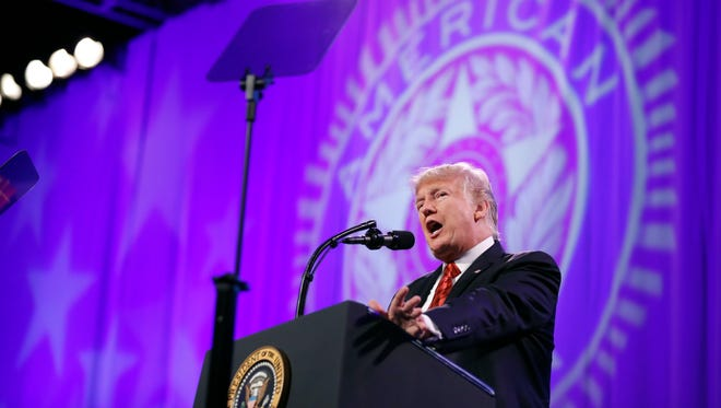 President Trump speaks at the National Convention of the American Legion, Wednesday, Aug. 23, 2017, in Reno, Nev.
