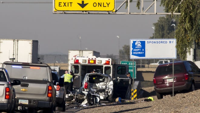 A DPS motorcycle trooper was involved in a three-vehicle crash, January 14, 2016, at westbound I-10 and 43rd Avenue.