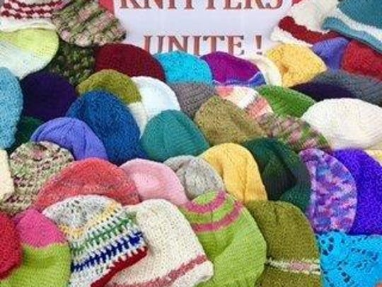 The Knitters Unite group at the Hunterdon County Library in Raritan Township produced for local hospitals more than 60 hats, which I picked up recently.