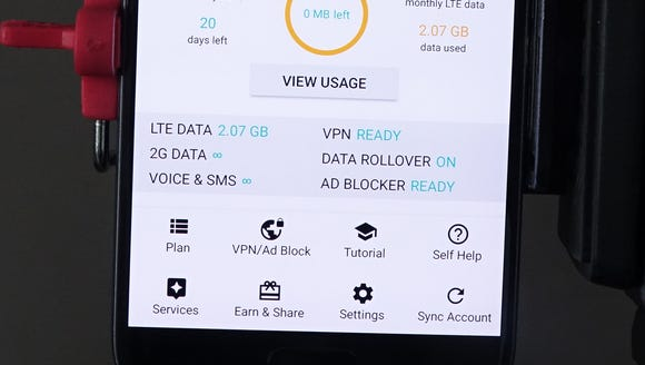 UNREAL Mobile's app shows the monthly usage, to let