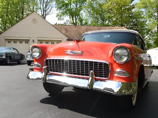 A 1955 Chevy Bel Air convertible, one of the cars Kenny Pascoe has collected.