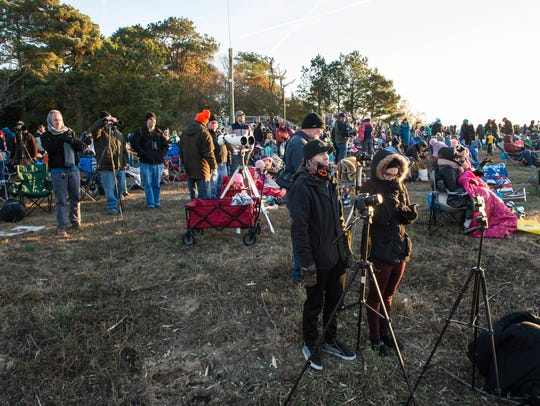A large crowd gathers at Wallops Flight Facility Visitor's Center for the launch of an Antares Rocket on Saturday, Nov. 11, 2017.
