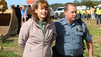 About 70 protesters gathered on Monday at the construction site outside Columbia in Lancaster County.