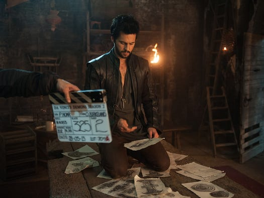 Tom Riley's Leonardo da Vinci is seeing more of the world than ever in the second season of Starz's 'Da Vinci's Demons,' premiering Saturday. Executive producer Lee Morris takes USA TODAY on an exclusive tour of some of the locales on the set in Swansea, Wales.