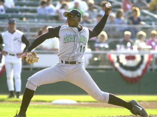 Dontrelle Willis pitches during the Midwest League All Star game in Lansing in 2002. Willis went on to be the National League rookie of the year the following season with the Florida Marlins.