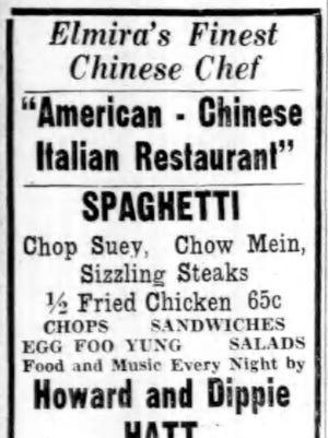 An ad from the Sept. 8, 1939, Star-Gazette. Restaurants in Elmira showed an increasing appetite for exotic foods.
