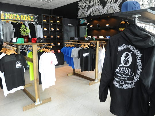 Casual streetwear are displayed at Opake, an artist-based outlet in Dededo, as seen on Friday, Aug. 19.