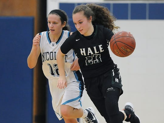 West Allis Hale guard Alyssa Cruz pushes the ball up