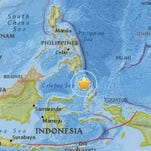 Earthquake off the coast of Indonesia on Monday, January 11, 2016.