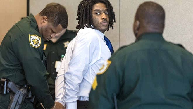Marlin Joseph is handcuffed after being found guilty of two counts of first-degree murder Monday, February 24, 2020. Joseph was charged in the Dec. 28, 2017, killings of Kaladaa Crowell, 36, and her 11-year-old daughter, Kyra Inglett.