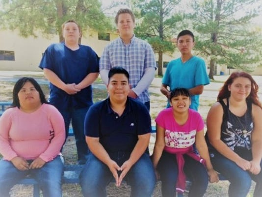 The Green Team, front row left to right - Colleen Morgan, Sebastian Thompson, Marisol Hernandez, Star Patterson Back row left to right - Justin Crotts, Dylan Adams, Kyler Blaylock  Not pictured, but are on the team are: Savannah Arches, Elliasa Morin, Leo Chavez, Kyler Blaylock.
