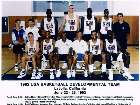 The team picture of the 1992 USA Basketball Developmental Team in La Jolla, Calif., on June 22-26, 1992.