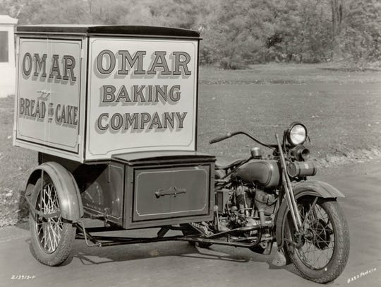 Omar Bakery motorcycle delivery vehicle.