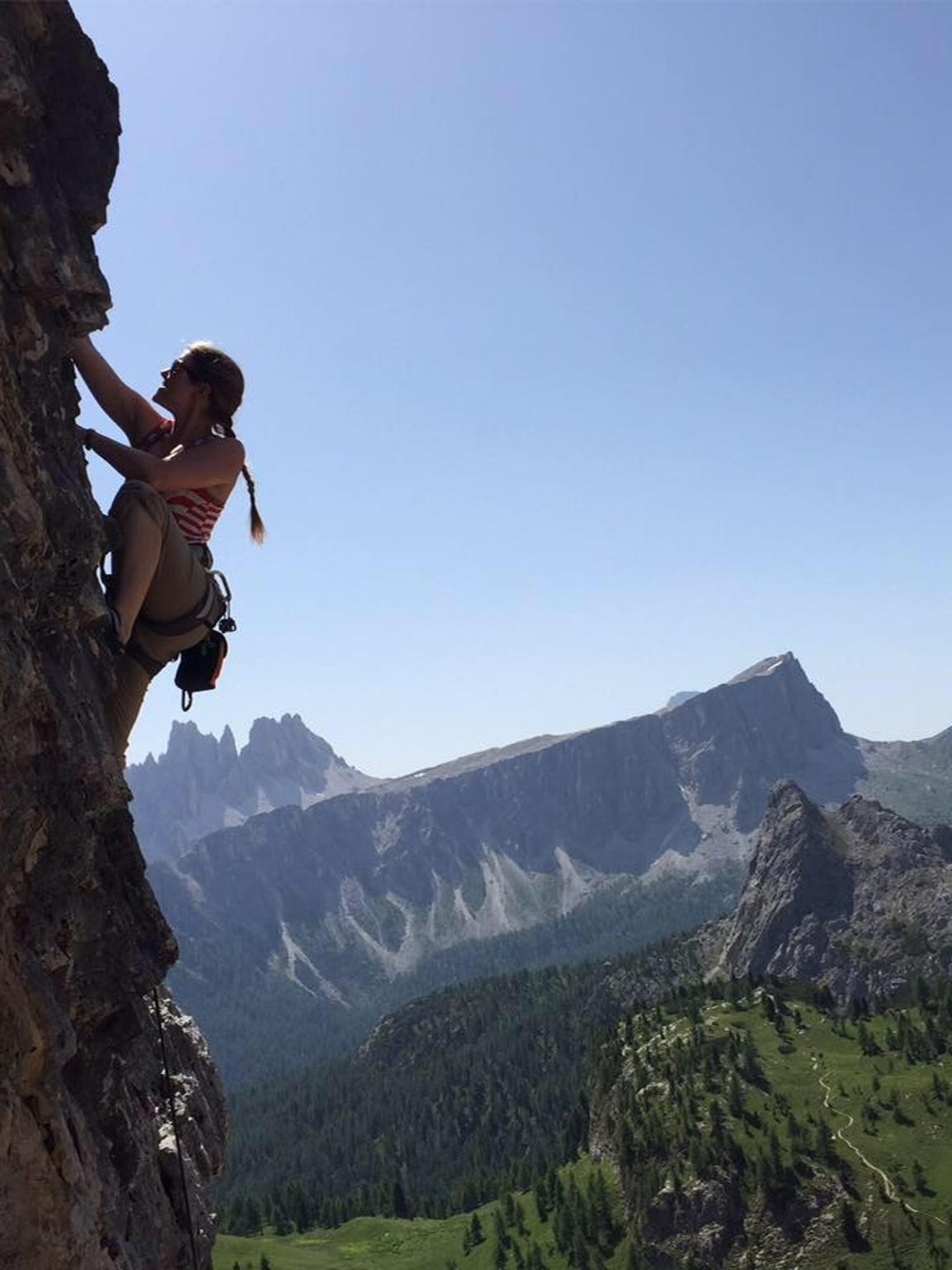 April Kirby sends a route in the Dolomites of Northern