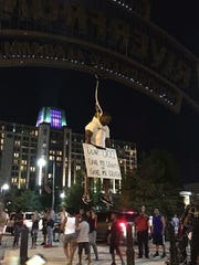 "David Sadler, head of the #doucount campaign, held a ""lynching"" demonstration downtown July 4."