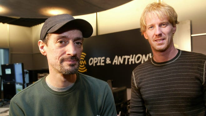 Anthony Cumia, left, and Opie, whose real name is Gregg Hughes, in their satellite radio studio in New York in 2004.
