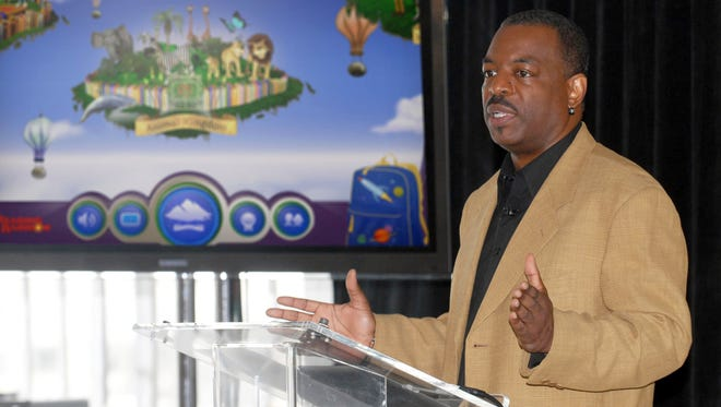 """LeVar Burton introduces the all new Reading Rainbow adventure app to the media, publishers and parents at the """"Reading Rainbow Relaunch"""" event in New York in June 2012. Actor Seth MacFarlane, creator of """"The Family Guy,"""" animated series, has agreed to match up to $1 million in contributions to the Reading Rainbow Kickstarter fundraising campaign by LeVar Burton that ends July 2."""