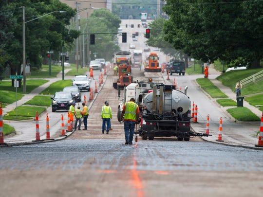 L.L. Pelling road crews work along Burlington Street