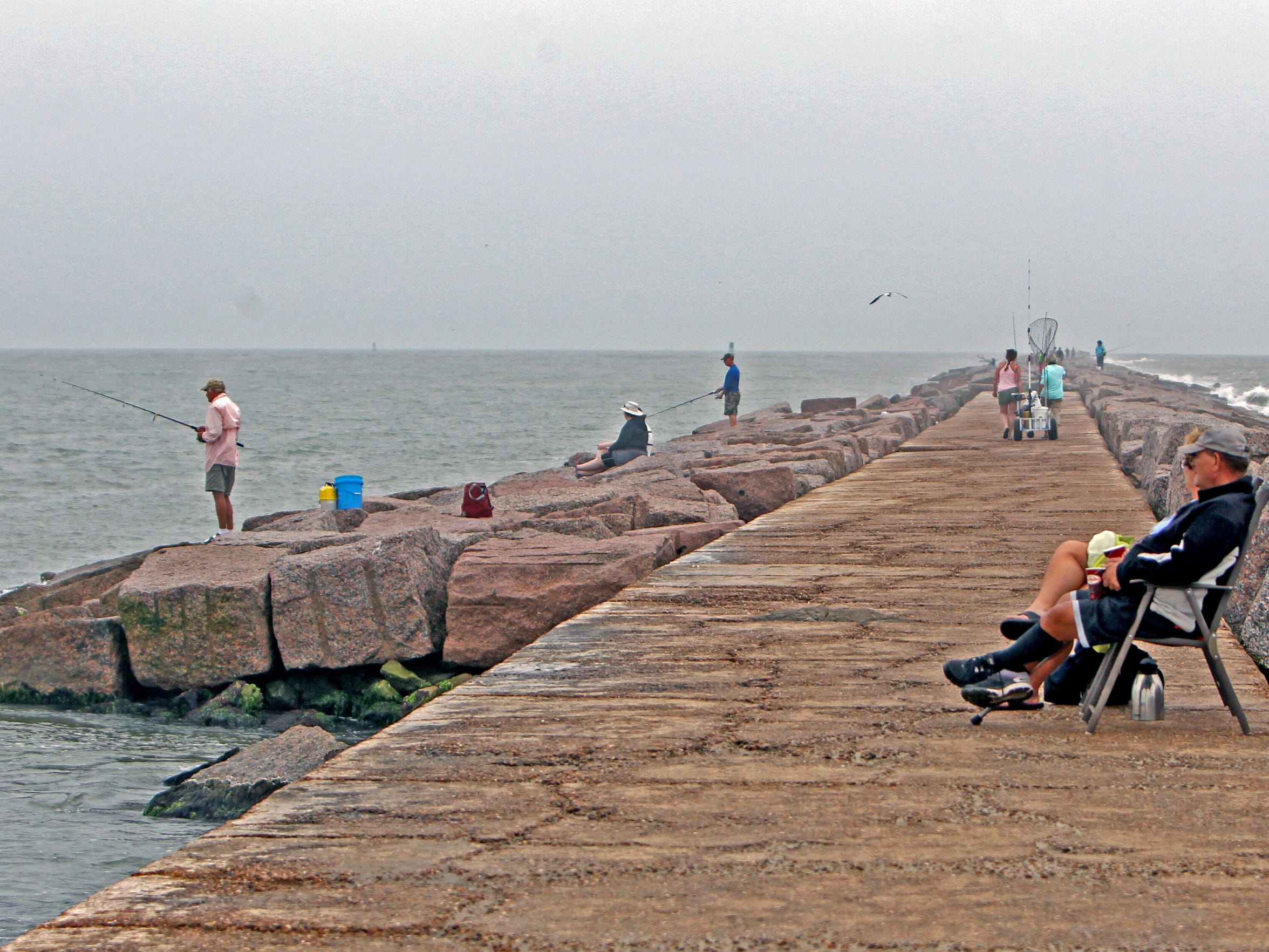 The Port Aransas South Jetty is a drive-up fishing