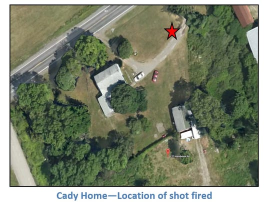 David Cady fired a shot that hit the ground approximately where the red star appears, according to an after-action report on the incident. The bullet landed about 20 feet from a Tompkins County Sheriff's deputy and 10 feet from a New York State Police patrol vehicle.