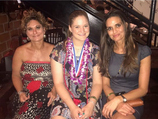Cecilia Stanford (left), her daughter Julie Stanford (middle) and Kara Sands (right) sit together after Julie's graduation.