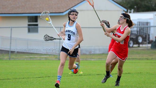 Kelly Hazlett of Satellite lacrosse (right)