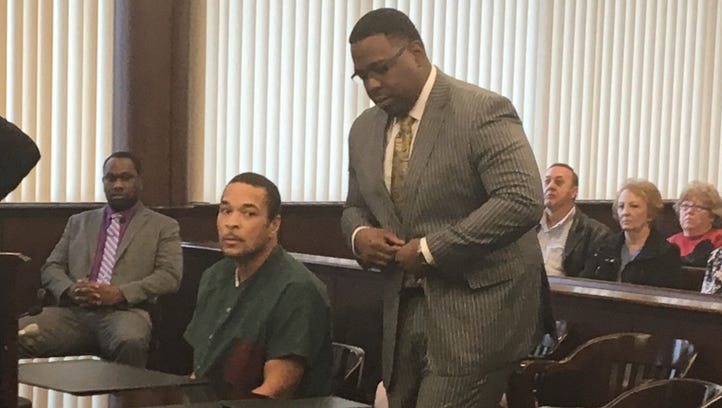 Gregory Green in court Feb. 15, 2017 with his attorney, Charles Longstreet II