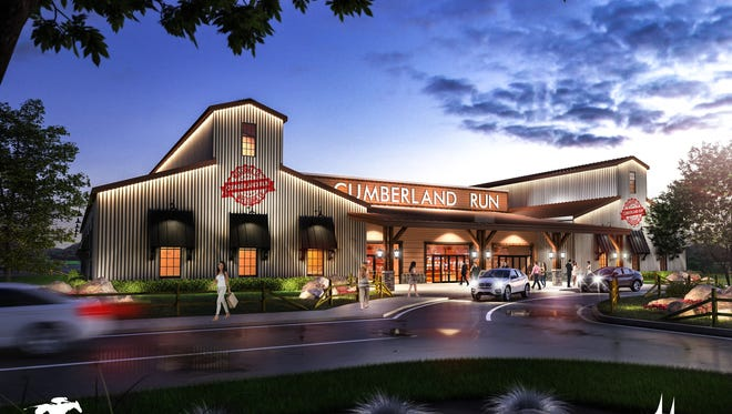 An initial rendering of the proposed horse racing venue in Corbin, Kentucky.