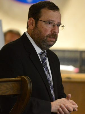 Fairfield County Prosecutor Gregg Marx delivers his rebuttal argument June 9, during a trial in Fairfield County Common Pleas Court in Lancaster.