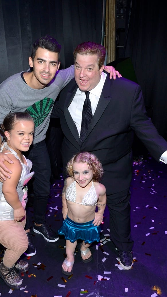 Joe Jonas with World's Smallest Stripper, Mini Miley Stripper and Jeff Beacher 2