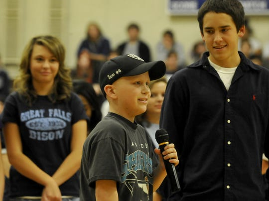 Great Falls High sophomore Sam Kolve, age 15, addressed the school during a pep rally. Kolve died of cancer before he turned 16. The Sam's Hope Foundation was established in his memory. An annual foundation scholarship benefits a Great Falls High School senior in Sam's memory.