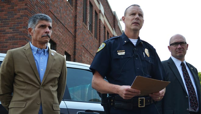 From left: Division of Criminal Investigation Administrator Bryan Lockerby, Great Falls Police Chief David Bowen and Cascade County Attorney Josh Racki at a press briefing Wednesday regarding the officer involved fatal shooting of burglary suspect Thomas Jordan Addison.