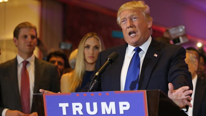 Republican Donald Trump addresses supporters in New York City after winning the New York GOP primary on Tuesday night.