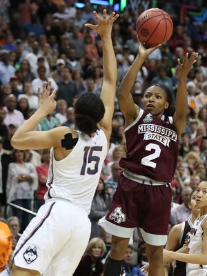 Mississippi State's Morgan William shoots the game-winning shot in overtime against Connecticut.
