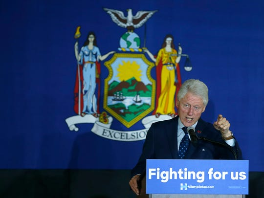 Bill Clinton holds campaign rally for his wife Hillary