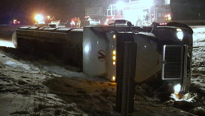 The  driver escaped injury when a tanker truck rolled over early Monday morning on I-86 in Bath.