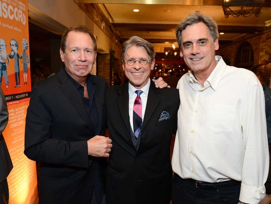 """Scott Carter, center, Garry Shandling, left, and Randall Arney, right. attend the opening night of """"Discord"""" at The Geffen Playhouse on Wednesday, October 15, 2014.  Photo by Jordan Strauss for Geffen Playhouse."""