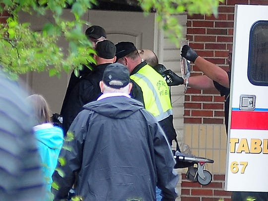 Prison escapee David Sweat is wheeled in to Alice Hyde Medical Center, after being shot and captured Sunday.