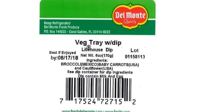 A product label from one of the voluntarily recalled Del Monte products linked to 78 confirmed cyclospora cases