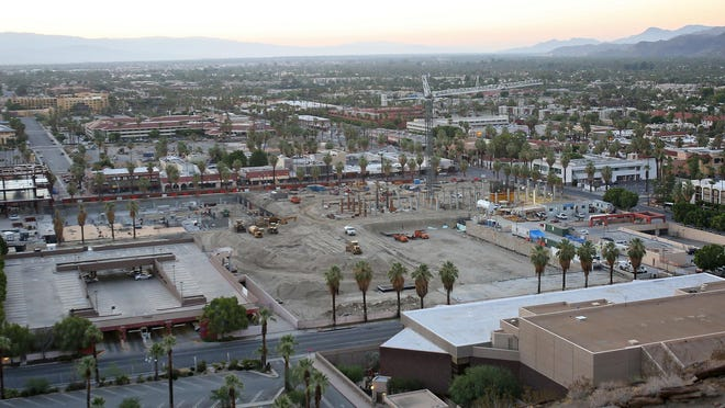 A view of the Palm Springs downtown redevelopment on July 28. The 14-acre site will be a hive of underground parking, retail, hotel, residential and commercial uses.
