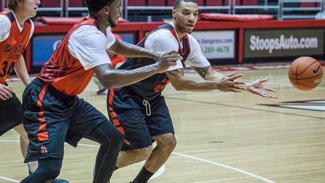 Ball State's Jeremiah Davis passes during practice at Worthen Arena on Friday, Oct. 2, 2015.