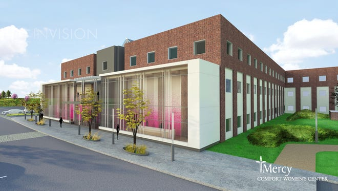 An architect's rendering of the planned Mercy Comfort Women's Center in Clive.