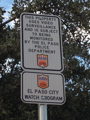 Pictured is one of several El Paso City Watch Program signs in Union Plaza in Downtown.