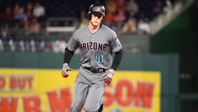 Arizona Diamondbacks right fielder Jeremy Hazelbaker rounds the bases after hitting a solo homer during the ninth inning against the Washington Nationals on May 2, 2017, at Nationals Park.