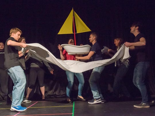 The StageKids cast comically acts out a sailing scene